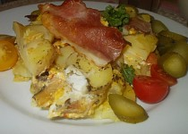 Žampionové brambory s česnekovou kýtou a  mozzarellou