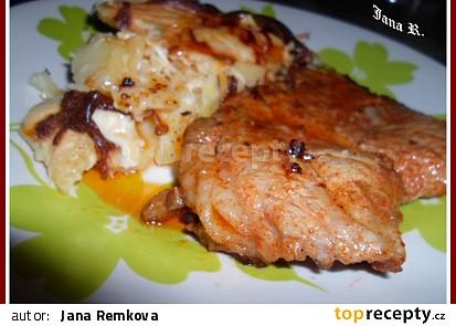 Česneková krkovice s gratinovanými bramborami
