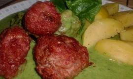 Kuličky z mletého masa se špenátovou omáčkou