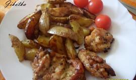 Krůtí křídla pečená s bramborami