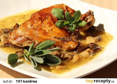 Bylinkové kuře na hříbcích