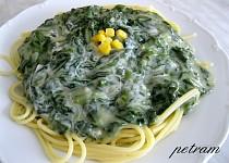 Špagety se špenátovo - smetanovou omáčkou bez lepku, mléka a vajec