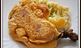 Uzená kuřecí stehna, smažená v sýrovém těstíčku