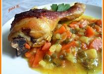 Kuřecí paličky na kari a máslové zelenině