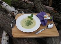 Polévka s řapíkatým celerem, bazalkou a smetanou