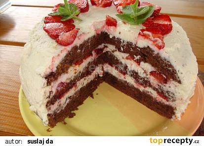 Jahodovo-kakaový dortík