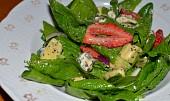 Špenátový salát s jahodami, avokádem a makovým dresinkem