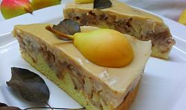 Hruškový koláč s mandlovou (pudinkovou) polevou