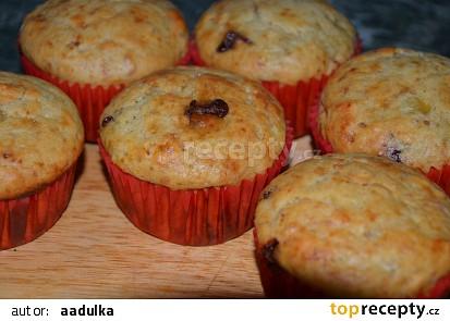 Banánovo čokoládové muffiny s arašídovým máslem