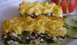 Brokolice zapečená s uzeným šmakounem a bramborovou kaší