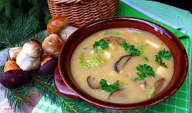 Houbová polévka s kapustou a bramborem