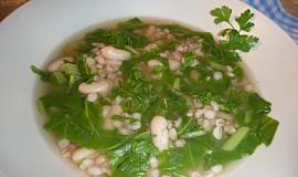 Kroupová polévka s mangoldem a fazolemi