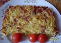 Špagety zapečené s uzeným masem