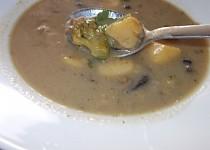 Houbová polévka s pórkem, brokolicí a řapíkatým celerem