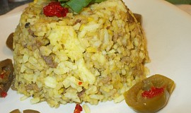 Kurkumové rizoto s houbami a hovězím masem