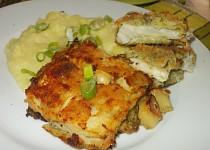 Smažený halibut v brokolicovém těstíčku  s česnekovou kaší