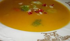 Dýňová polévka s chilli papričkou a zakysanou smetanou