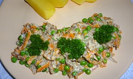 Hlíva s mrkví a hráškem