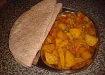 Indická kuchyně - rychlé Aloo gobi aur mater (brambory s květákem a hráškem)  český videorecept
