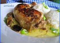 Pečené kuře na houbách