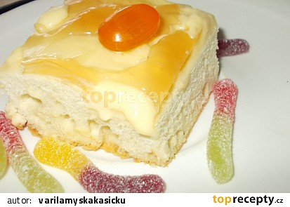 Řezy z bílé čokolády s pomerančovým krémem a ovocným  želé
