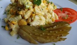 Zapečené těstoviny s kuřecím masem a sýrem gouda