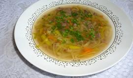 Hovězí polévka s pórkem a masem