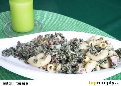 Těstoviny se šunkou a špenátem