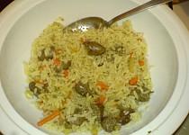 Zapečená rýže s kuřecími srdíčky