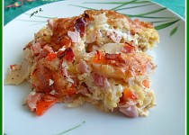 Zapečený celer s kapustou, šunkou a mozzarelou