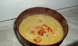 Krémová pórková polévka s tofu a sýrem