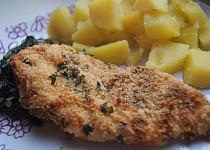 Křupavá kuřecí prsa v Gran Moravii s dušeným špenátem