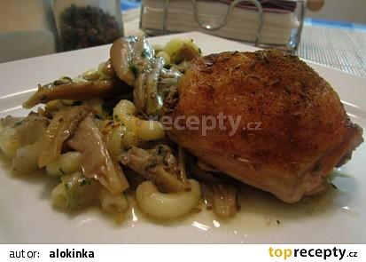 Kuře na hlívě a cibuli