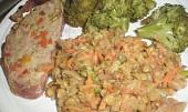 Mozaiková  sekaná,  plněná mozzarellou a anglickou slaninou