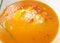 Selská polévka  z  paprik a rajčat,  rýží a sýru