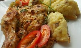 Kuře pečené ve směsi  z uzeného sýra,  hlívy  ústřičné a bylinek