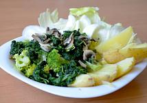 Brokolice se špenátem a žampiony