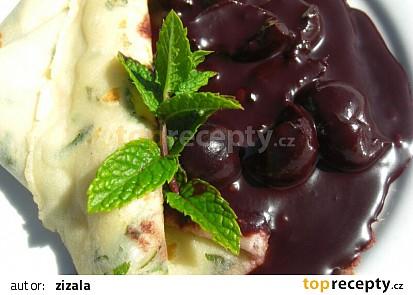 Mátové palačinky a višně v čokoládě