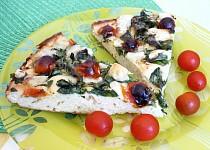 Česneková pizza se špenátem