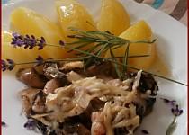 Žampionový gratin s levandulí a rozmarýnem