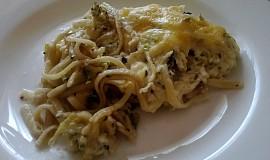Zapečené špagety s brokolicí a Hermelínem