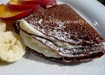 Čokoládové palačinky s tvarohovo - pudinkovým krémem a čerstvým ovocem