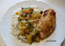 Kuře pečené na zelenině s hořčičnou moukou