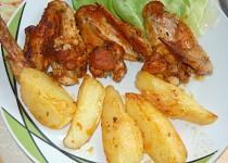 Kuřecí křídla v pečícím sáčku  s bramborami