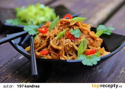 Trhané kuře s medovo - česnekovou omáčkou  ( v pomalém hrnci )