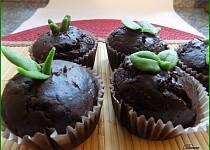 """Čokoládové muffiny s kandovaným pomerančem a """"jarním"""" zdobením"""
