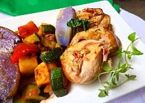 Králičí závitky na tymiánu s pečenou zeleninou