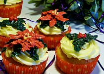 Vánoční hvězda a cesmína - muffiny