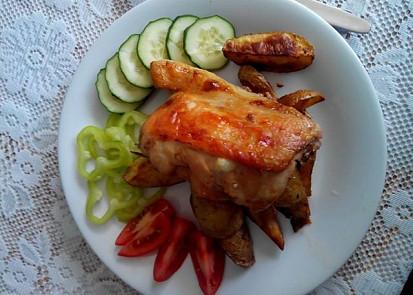 Dnes jsem podle receptu připravil oběd, jen spodní stahno jsem odříznul, celé porce byly příliš velké.