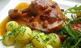 Kuřecí stehna na slanině a zázvoru